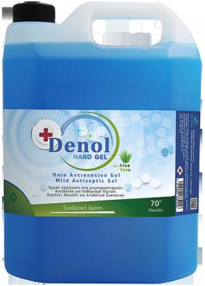 Αντισηπτικό χεριών καθαριστικό ενυδατικό gel Denol 4 lit